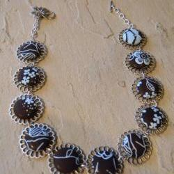 FREE SHIPPING  - Silver Nickel Flowered Linked Necklace with Fabric Covered Buttons